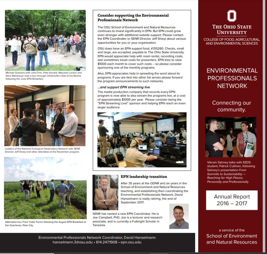 Screenshot of EPN's 2016-2017 Annual Report