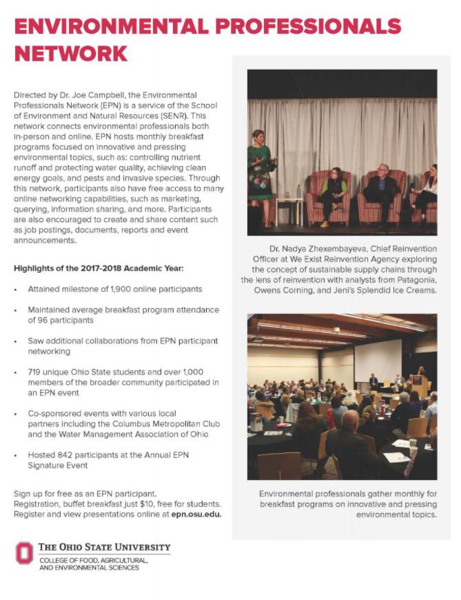 Screenshot of EPN's 2017-2018 Annual Report