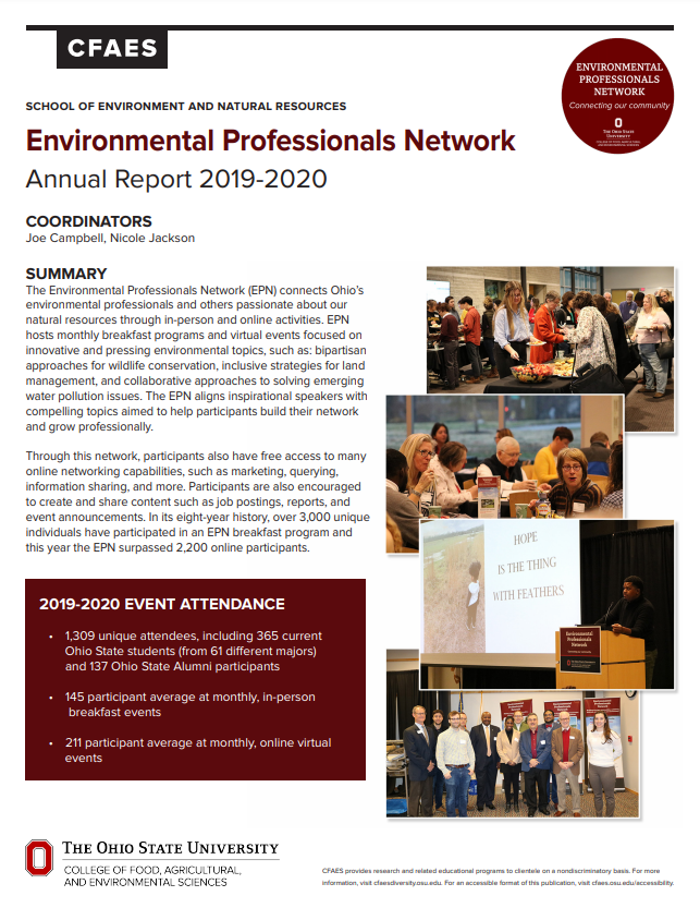 Screenshot of EPN 2019-2020 annual report with text and images of EPN members