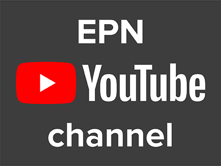 Image of an EPN YouTube channel with gray background and red YouTube play button