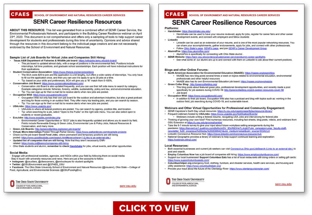 SENR Career Resilience Resources